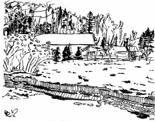 D'un dessin du jardin communautaire où j'ai le privilège de m'investir (encore sous la neige en ce moment).