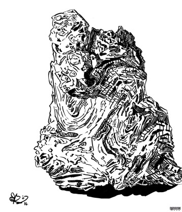 Étude au feutre d'une souche sculptée par l'eau et découverte par une amie il y a quelques années. Un très bel objet que la nature a façonné et dont les circonvolutions me fascinent.